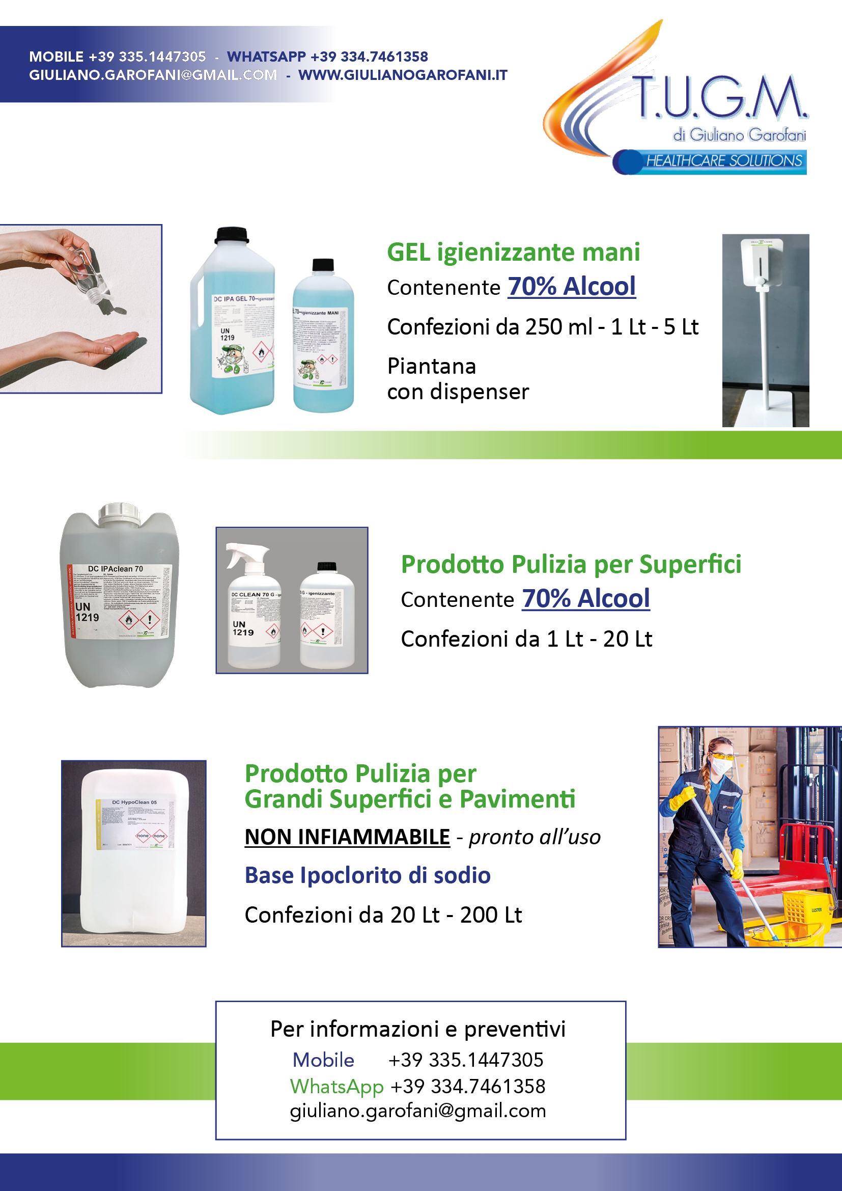 Gel disinfettante e Detergente sanificazione superfici